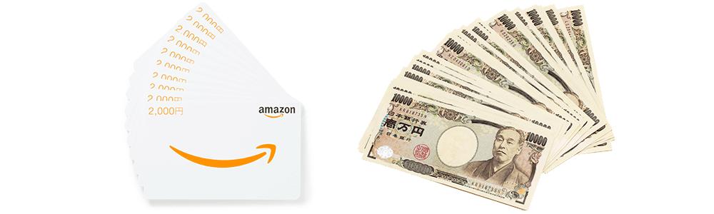 Amazonギフト券と現金