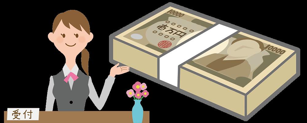 受付で換金率を提示する女性